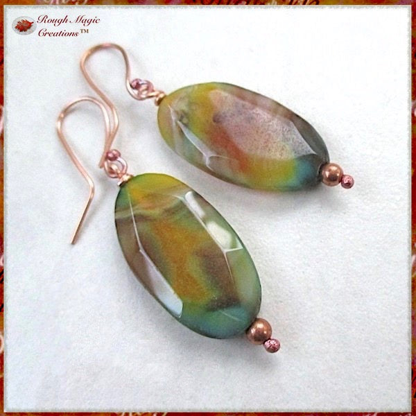 Large Multicolor Agate Gemstone Earrings