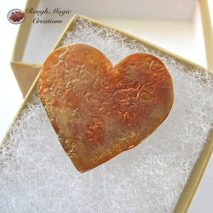 Rustic Hammer Textured Copper Heart Brooch