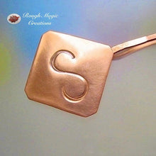 Load image into Gallery viewer, Personalized Money Clip, Hand Forged Copper Accessory for Women and Men, Monogrammed, Bright or Antiqued Finish - handmade by Rough Magic Creations.