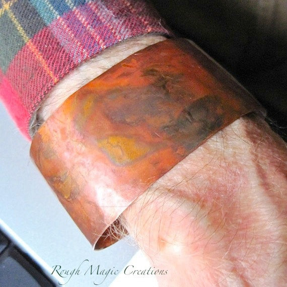 Wide Cuff Copper Cuff Bracelet Rustic Unisex Jewelry Eco Friendly Metalwork