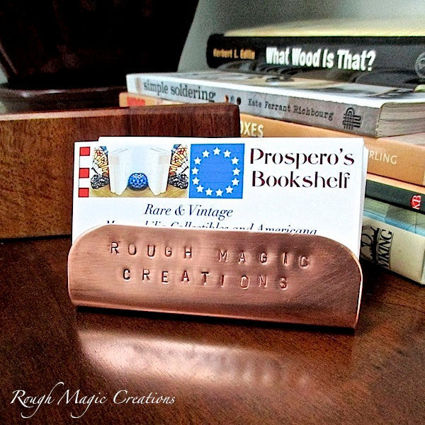 Personalized Copper Business Card Holder, Metal Office Display, Desk Accessory, Organizer