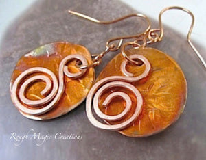 Large Copper Earrings Hammered Disc & Swirls