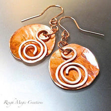 Load image into Gallery viewer, Large Copper Earrings Hammered Disc & Swirls