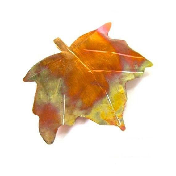 Maple Leaf Copper Brooch, Autumn Leaves Rustic Pin, Hand Forged Artisan Metalwork Jewelry