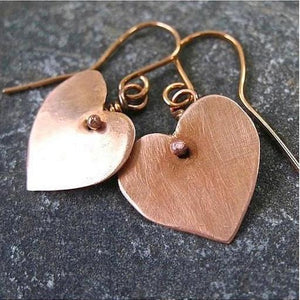 Copper Heart Dangle Earrings Rustic Metal Romantic Eco Friendly Jewelry