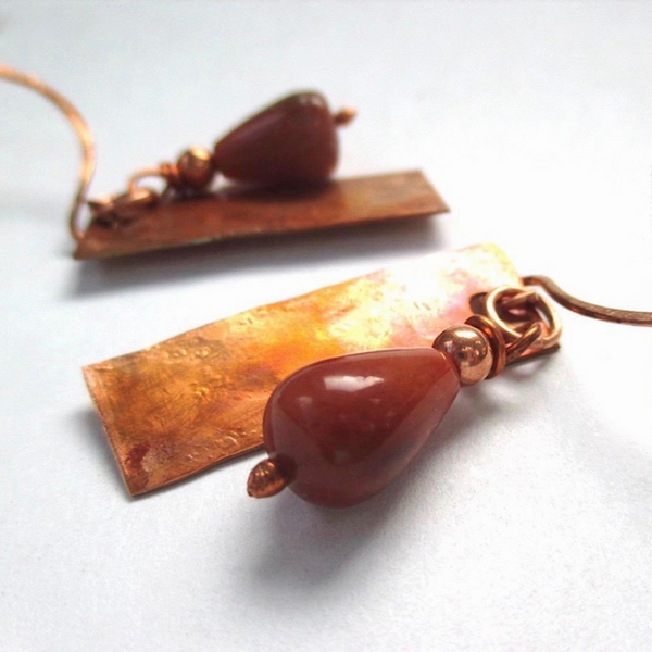 Tomato Red Agate Boho Earrings with Flame Washed Hammered Copper Drops