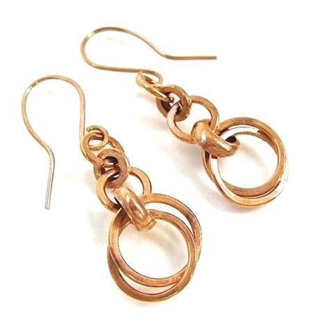 Abstract Boho Earrings Solid Copper Geometric Circles