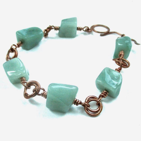 Chunky Green Aventurine Bracelet with Copper Links & Toggle Clasp