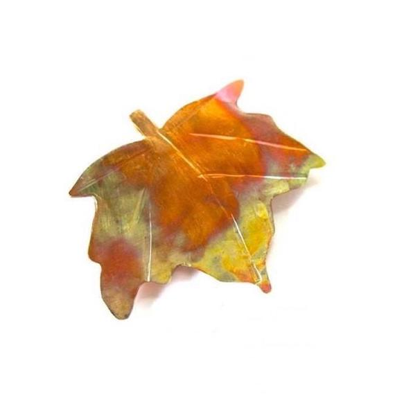 Colorful Copper Brooch Fall Maple Leaf