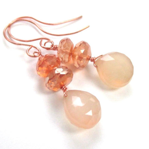 Elegant Gemstone Earrings with Peach Chalcedony & Orange Mystic Topaz