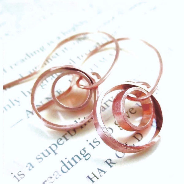 Geometric Copper Earrings Rustic Circle Dangles with Double Ring Drops