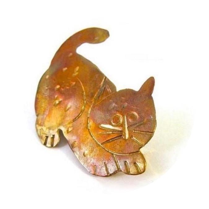 Kitty Cat Brooch: Hand Forged Copper Hammer Textured Kitten