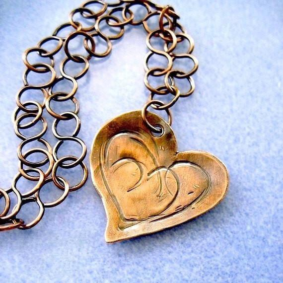 Antiqued Copper Heart Pendant, Rustic Chain Necklace