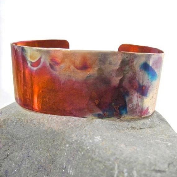 Rainbow Copper Cuff Simple Unisex Bracelet