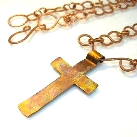 Rustic Rugged Cross Pendant on Copper Chain Necklace