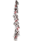 Snow-Covered Magnolia Leaves Garland with Pine Cones & Red Berries - 5' Long - Natural