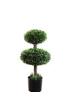 "Boxwood Topiary Double Oval - 27"" Tall - Green"