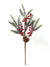 "Snow-Covered Pine Pick with Pine Cone & Red Berries - 20"" Tall - Box of 12 - Natural"
