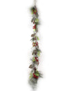 Iced Pine Garland with Pine Cones & Red Berries - 6' Long - Box of 2 - Natural