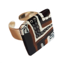 "Murano glass square Ring ""Quadrone"" set in 925 sterling silver"