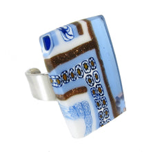 "Murano glass rectangular Ring ""Quadrone"" set in 925 sterling silver"