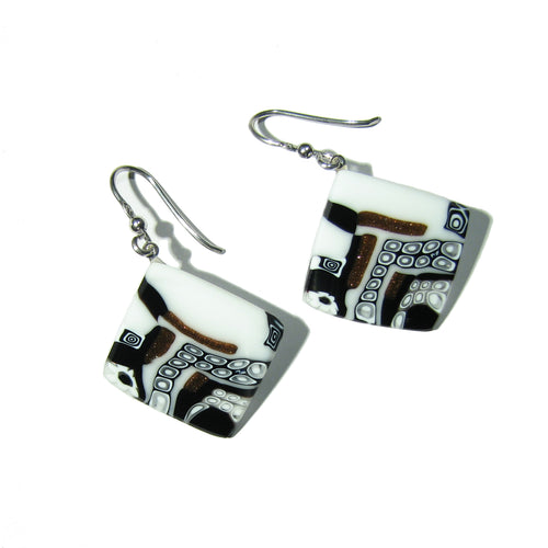 Murrine Murano glass square earrings