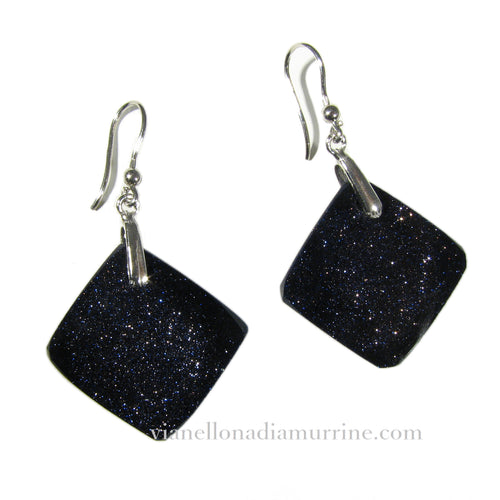 Murano glass square earrings