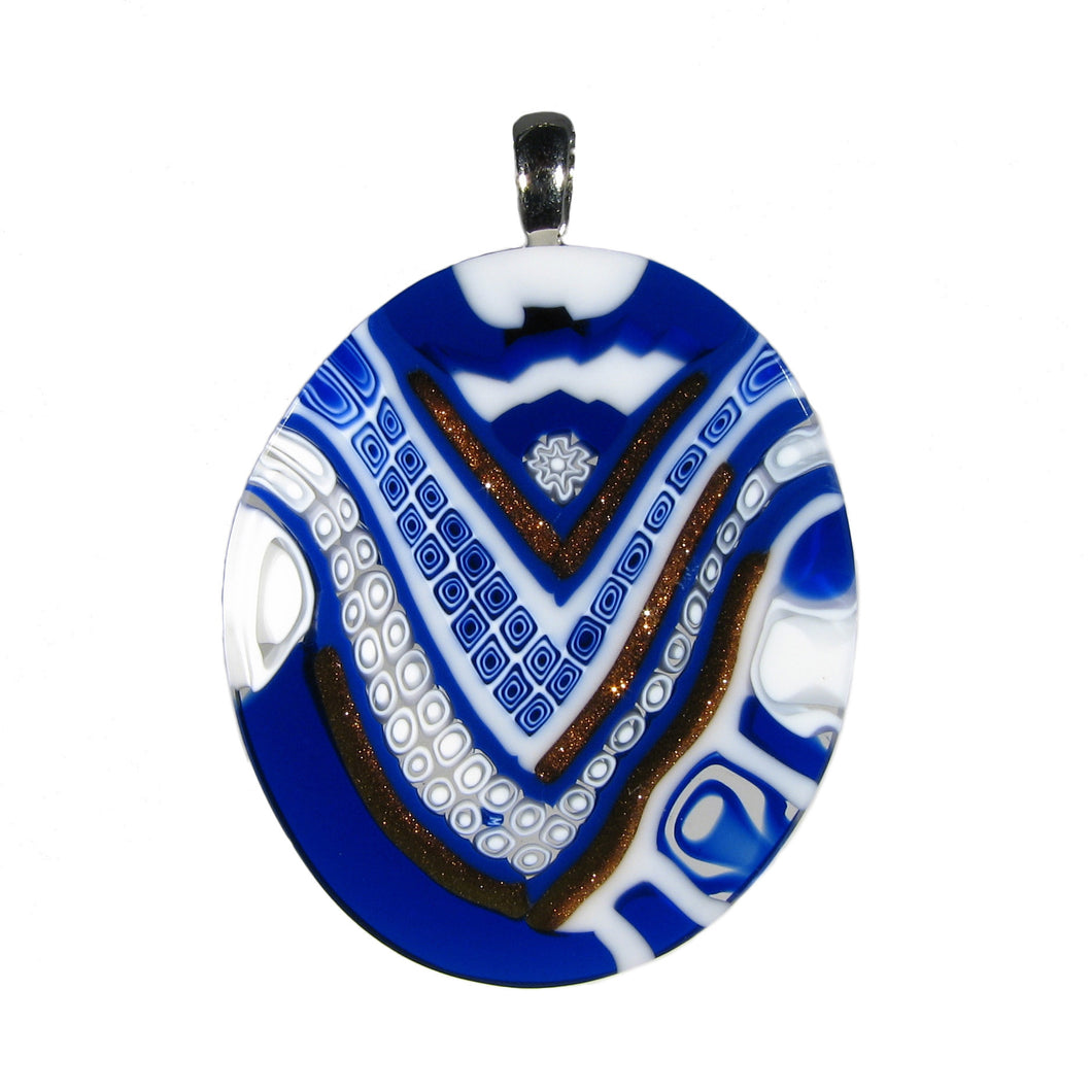 Murrina Quadrone Murano glass oval pendant