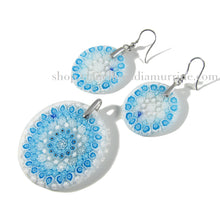 Aquamarine pendant and earrings set Murano glass