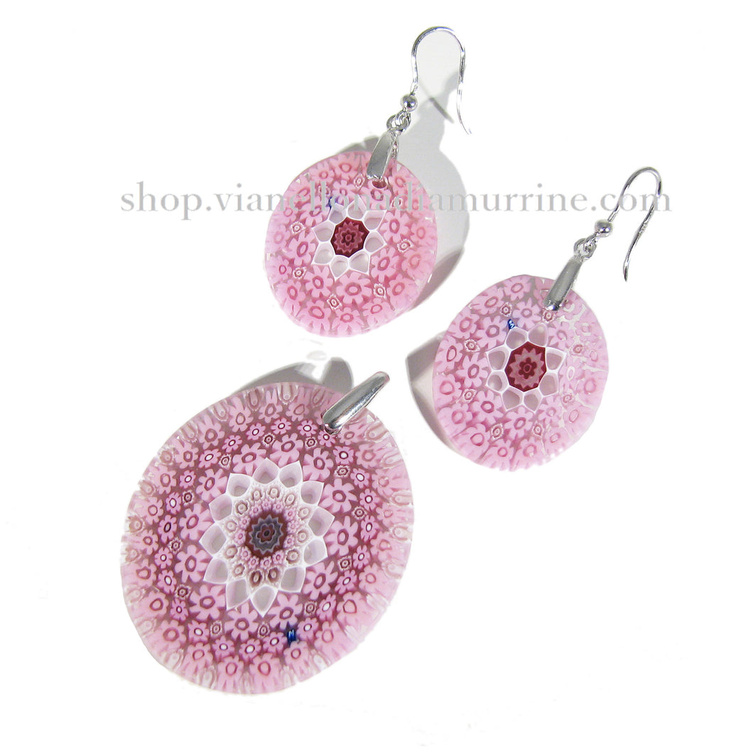 Millefiori pendant and earrings set