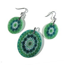 Murano glass Pendant and earrings set Millefiori 27