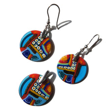 Murano glass pendant and earring