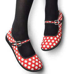 Chocolaticas® Red Polka Women's Mary Jane Flat