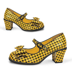 Chocolaticas® Mid Heels Pop Hounds Tooth Yellow Women's Mary Jane Pump