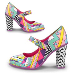 Chocolaticas® High Heels Geometric Women's Mary Jane Pump