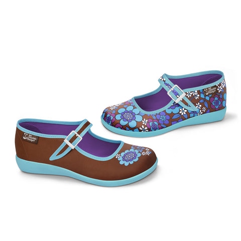 Chocolaticas® Blue Flowers Women's Mary Jane Flat