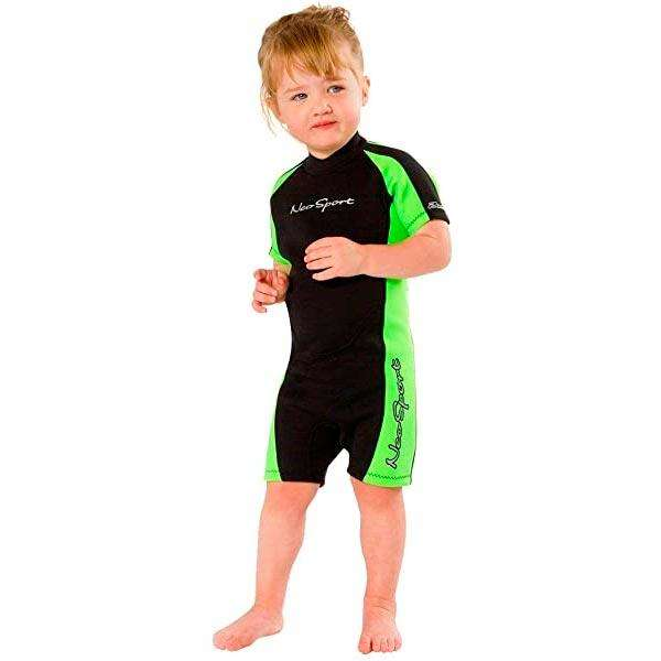 Neosport Children's Backzip Shorty, Black/Lime Green,Henderson,Treshers