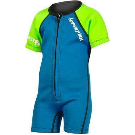 Treshers:Hyperflex Acess Child's 2mm Front Zip Springsuit, Blue/Green,1