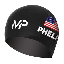 Treshers:Michael Phelps Race Swim Cap - USA Limited Edition,Black/White