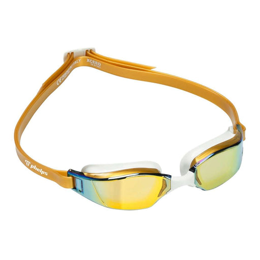 Michael Phelps XCEED Titanium Mirrored Lens Swim Goggles, Gold/White, 189120,Aqua Sphere,Treshers