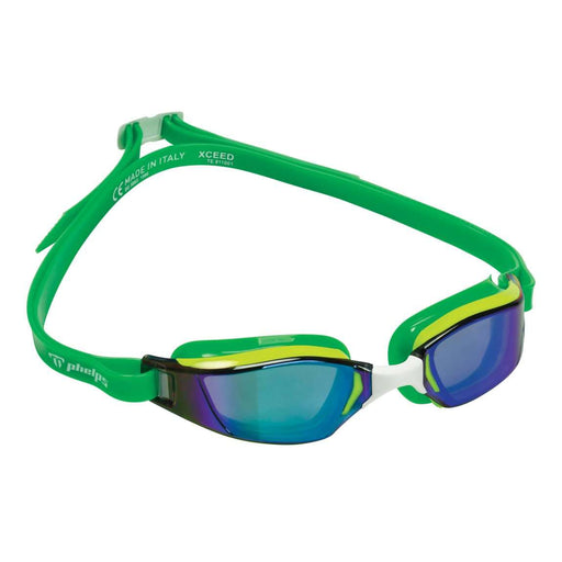 Michael Phelps XCEED Titanium Mirrored Lens Swim Goggles, Yellow/Green, 189160,Aqua Sphere,Treshers