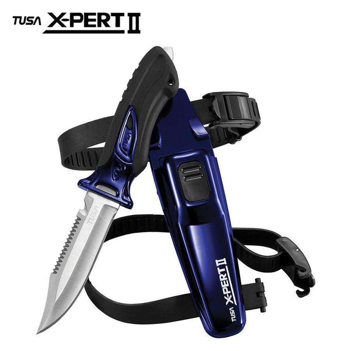 Treshers:Tusa X-PERT II , Pointed, Drop Point Blade Knife (FK-910),Cobalt Blue.