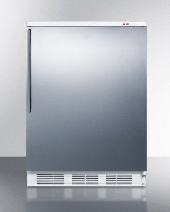"Summit VT65M7SSHV 24"" Commercially Approved Upright Freezer with 3.5 cu. ft. Capacity Three Removable Storage Baskets Manual Defrost Fully Finished Cabinet and Adjustable Thermostat in Stainless"