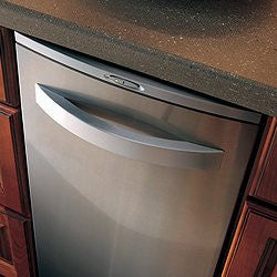 "Broan 15XESSA 15"" Programmable Trash Compactor arch stainless steel door storage compartment"
