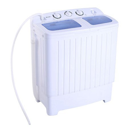 Costway White and Blue 11 LB. Portable Mini Compact Twin Tub Washing Machine