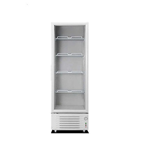 348L Pull Door Glass Display Showcase Beer Soda Beverages Cooler Commercial Refrigerator Merchandiser Free Standing Vertical Upright Fridge 12.3 Cubic Feet White