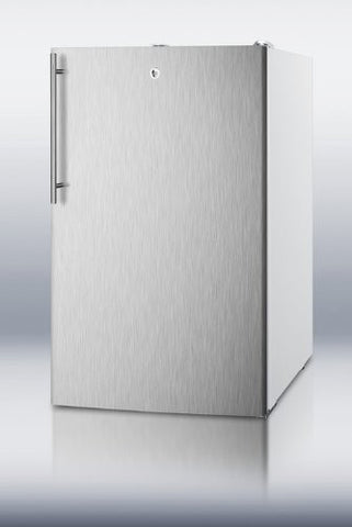 "Summit FS407LBI7SSHV: Commercially listed 20"" wide built-in undercounter all-freezer, -20(degree) C capable with a lock, stainless steel door, thin handle and white cabinet"