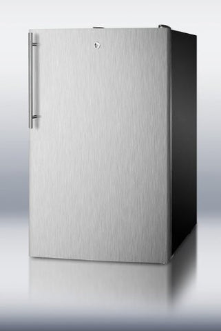 "Summit FS408BLBI7SSHV: Commercially listed 20"" wide built-in undercounter all-freezer, -20(degree) C capable with a lock, stainless steel door, thin handle and black cabinet"