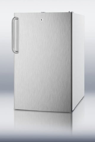 "Summit FS407LBI7SSTBADA: Commercially listed ADA Compliant 20"" wide built-in undercounter all-freezer w/lock, stainless steel door, towel bar handle and white cabinet"