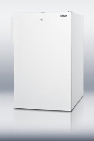 "Summit FS407LBI7: Commercially listed 20"" wide built-in undercounter all-freezer, -20(degree) C capable with a lock and white exterior"